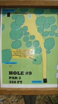 Shore Acres Park, Main course, Hole 9 Hole sign