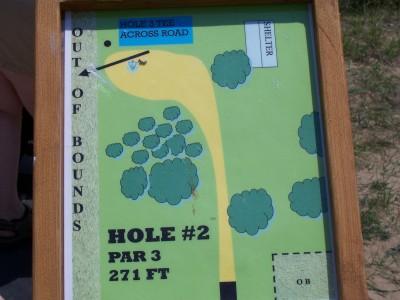 Shore Acres Park, Main course, Hole 2 Hole sign