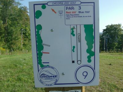 Chicopee, Main course, Hole 9 Hole sign