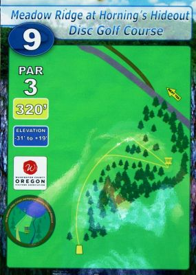 Horning's Hideout, Meadow Ridge, Hole 9 Hole sign