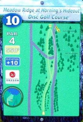 Horning's Hideout, Meadow Ridge, Hole 10 Hole sign