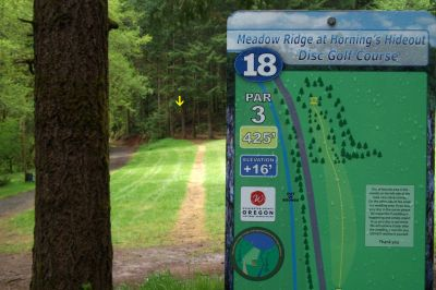Horning's Hideout, Meadow Ridge, Hole 18 Tee pad