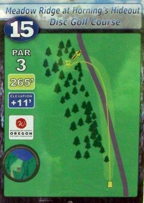 Horning's Hideout, Meadow Ridge, Hole 15 Hole sign