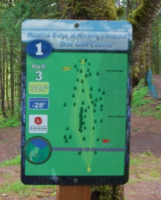 Horning's Hideout, Meadow Ridge, Hole 1 Hole sign
