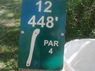 Reed Park, Main course, Hole 12 Hole sign