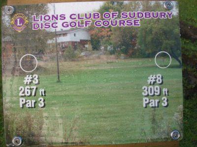 Lions Club of Sudbury DGC, Main course, Hole 3 Hole sign