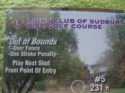Lions Club of Sudbury DGC, Main course, Hole 5 Hole sign