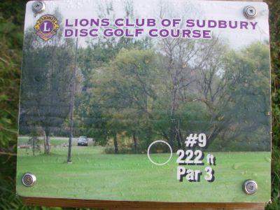 Lions Club of Sudbury DGC, Main course, Hole 9 Hole sign