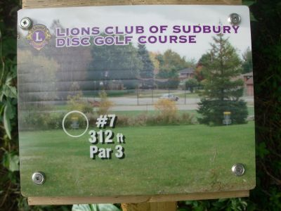 Lions Club of Sudbury DGC, Main course, Hole 7 Hole sign