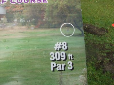 Lions Club of Sudbury DGC, Main course, Hole 8 Hole sign