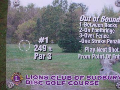 Lions Club of Sudbury DGC, Main course, Hole 1 Hole sign