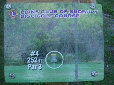 Lions Club of Sudbury DGC, Main course, Hole 4 Hole sign