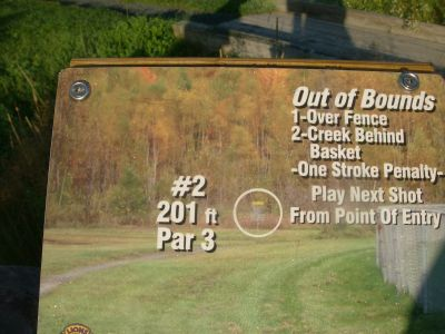Lions Club of Sudbury DGC, Main course, Hole 2 Hole sign