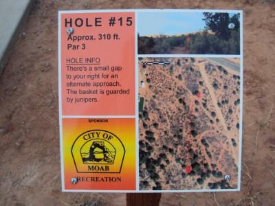 Old City Park, Main course, Hole 15 Hole sign