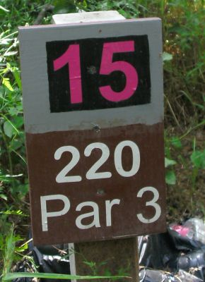 Gateway Park, West (The Privy), Hole 15 Hole sign