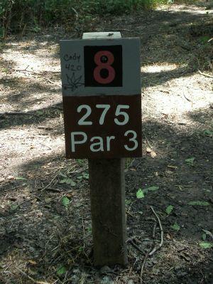 Gateway Park, West (The Privy), Hole 8 Hole sign