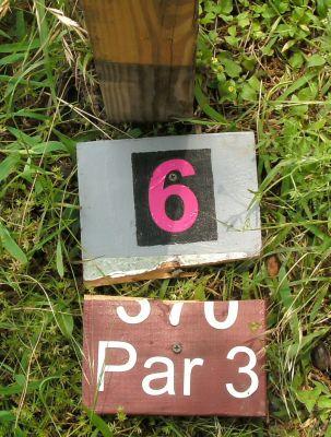 Gateway Park, West (The Privy), Hole 6 Hole sign