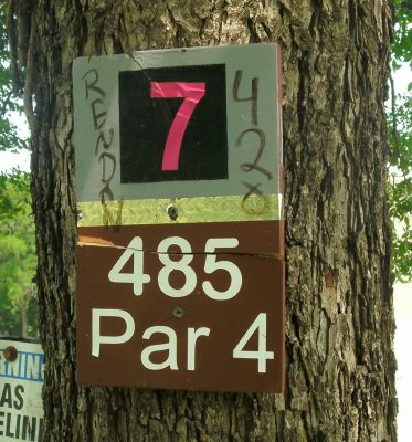 Gateway Park, West (The Privy), Hole 7 Hole sign