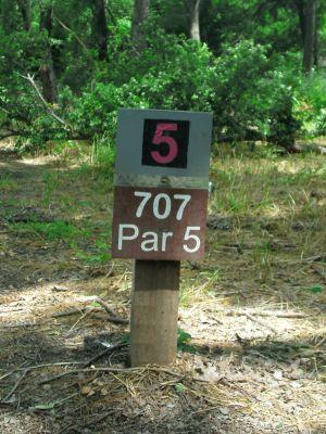 Gateway Park, West (The Privy), Hole 5 Hole sign