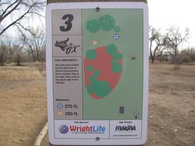 Oxbow, Main course, Hole 3 Hole sign