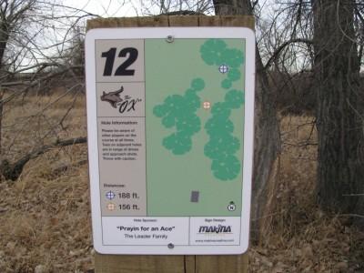 Oxbow, Main course, Hole 12 Hole sign