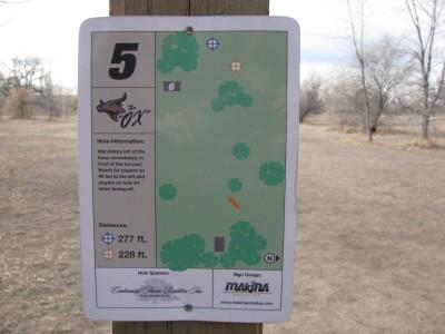 Oxbow, Main course, Hole 5 Hole sign