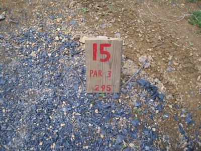 Poor House Farm, Main course, Hole 15 Hole sign