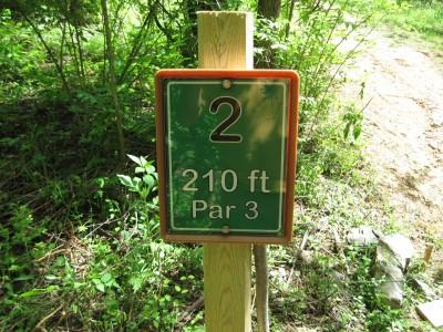 Poor House Farm, Main course, Hole 2 Hole sign