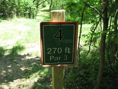 Poor House Farm, Main course, Hole 4 Hole sign
