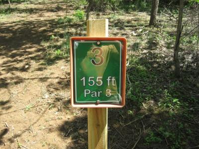 Poor House Farm Park, Main course, Hole 3 Hole sign