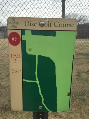 Southern Adventist University, Main course, Hole 6 Hole sign