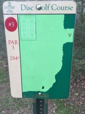 Southern Adventist University, Main course, Hole 3 Hole sign