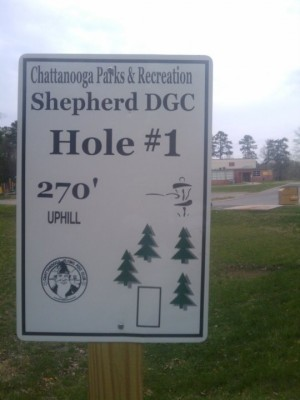 Shepherd Recreation Center, Main course, Hole 1 Hole sign
