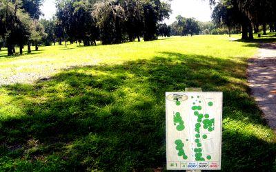 Pine Oaks, Main course, Hole 1 Hole sign