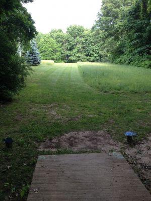BlueGill Disc Golf Course, Main course, Hole 21 Tee pad