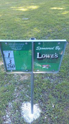 Miller Park, Miller Park, Hole 1 Hole sign