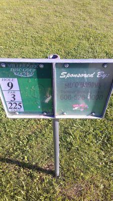 Miller Park, Miller Park, Hole 9 Hole sign