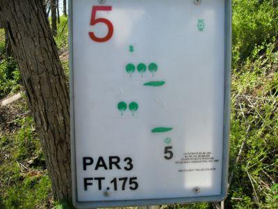 Saddle Hills, Main course, Hole 5 Hole sign