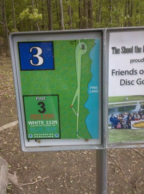 Punderson State Park, Friends of Punderson DGC, Hole 3 Hole sign