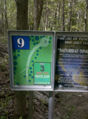 Punderson State Park, Friends of Punderson DGC, Hole 9 Hole sign