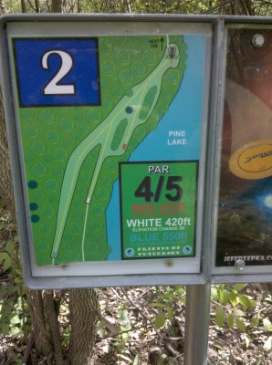 Punderson State Park, Friends of Punderson DGC, Hole 2 Hole sign