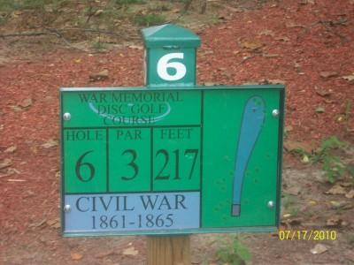War Memorial Park, Main course, Hole 6 Hole sign