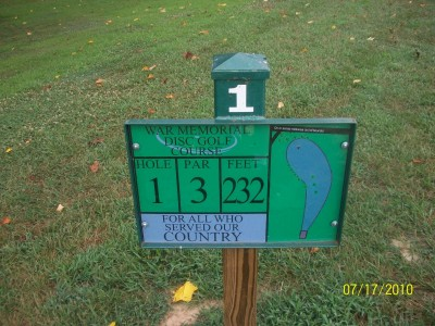 War Memorial Park, Main course, Hole 1 Hole sign