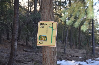 Camp of The Tall Pines, Main course, Hole 14 Hole sign