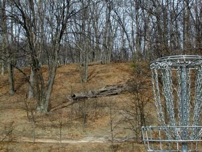 Hanson Hills Recreation Area, Grayling Rotary DGC, Hole 9 Reverse (back up the fairway)