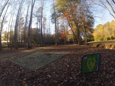 Aggieland DGC, Main course, Hole 15 Tee pad