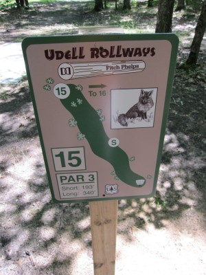 Udell Rollways, Main course, Hole 15 Hole sign