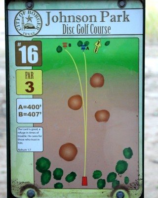 Borger DGC, Main course, Hole 16 Hole sign