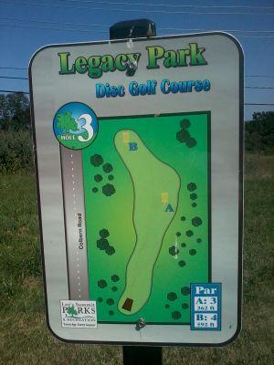 Legacy Park, Legacy Park, Hole 3 Hole sign