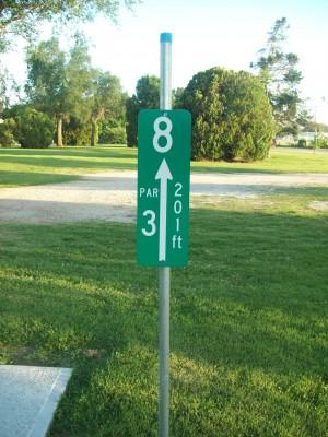 Highland Park, Main course, Hole 8 Hole sign
